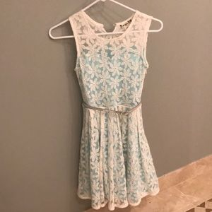 Teal flower lace dress